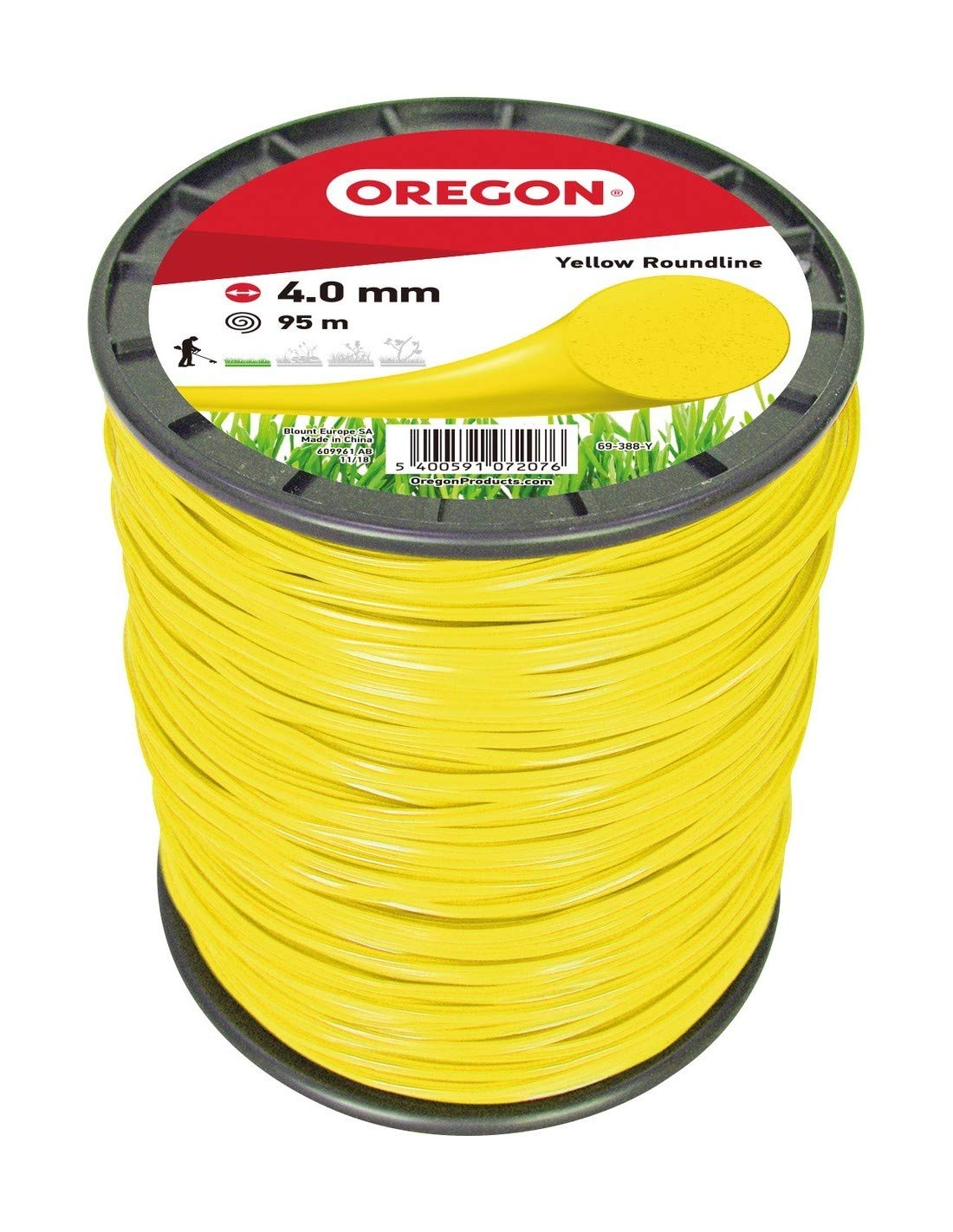 4.0 mm x 95 m Oregon 69-388-Y Yellow Round Strimmer Line//Wire for Grass Trimmers and Brushcutters