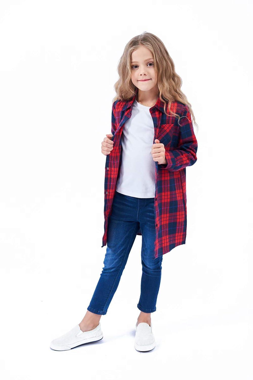 3-12 Years SANGTREE Girls Plaid Long Flannel Shirt