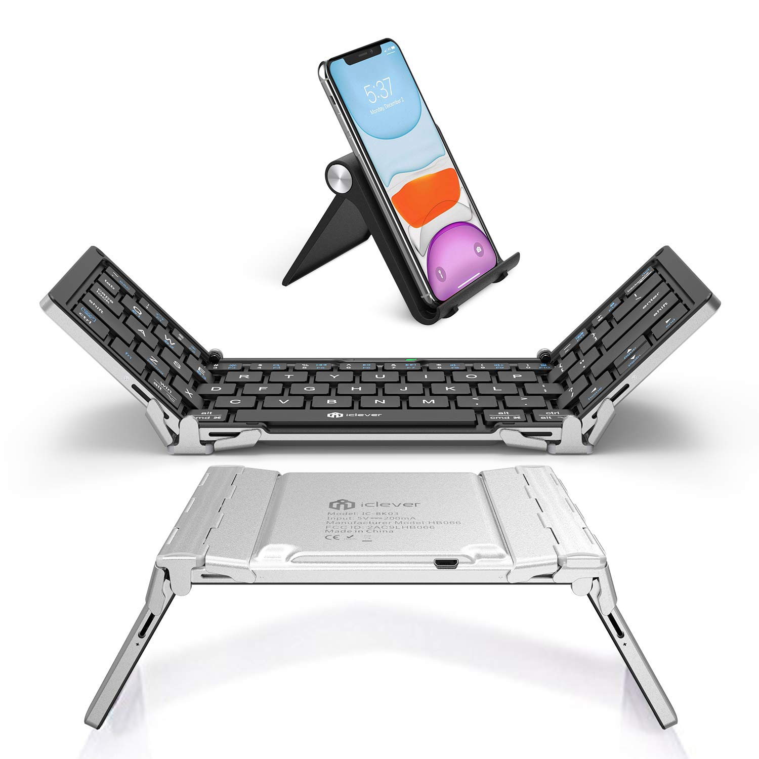 iClever BK03 Bluetooth Keyboard, Bluetooth 5.1 Foldable Wireless Keyboard with Portable Pocket Size, Aluminum Alloy Housing, Carrying Pouch, for iOS Windows Android Tablets, Laptops and Smartphones
