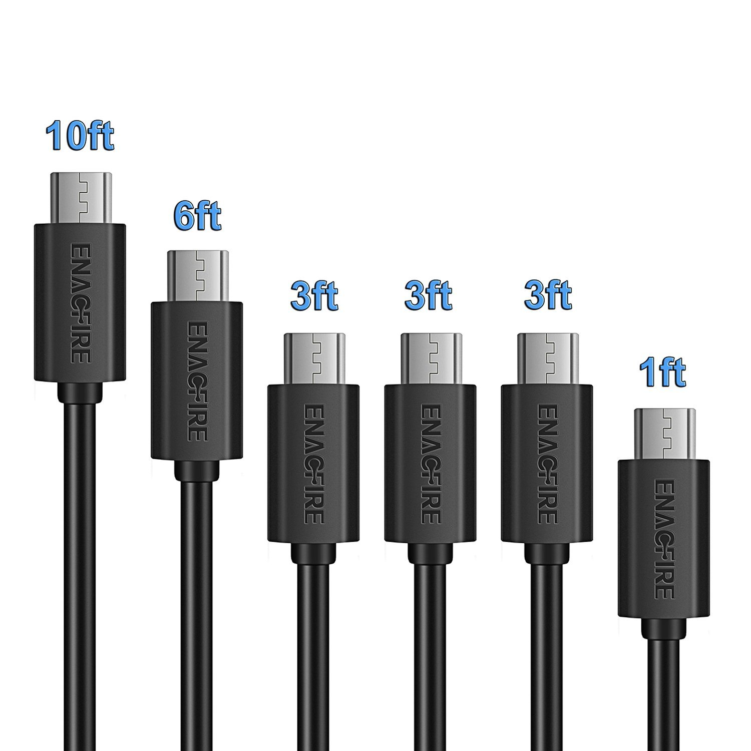 Amazon.com: Micro USB Cable,ENACFIRE Powerline [6-Pack] (1ft, 3x3ft ...