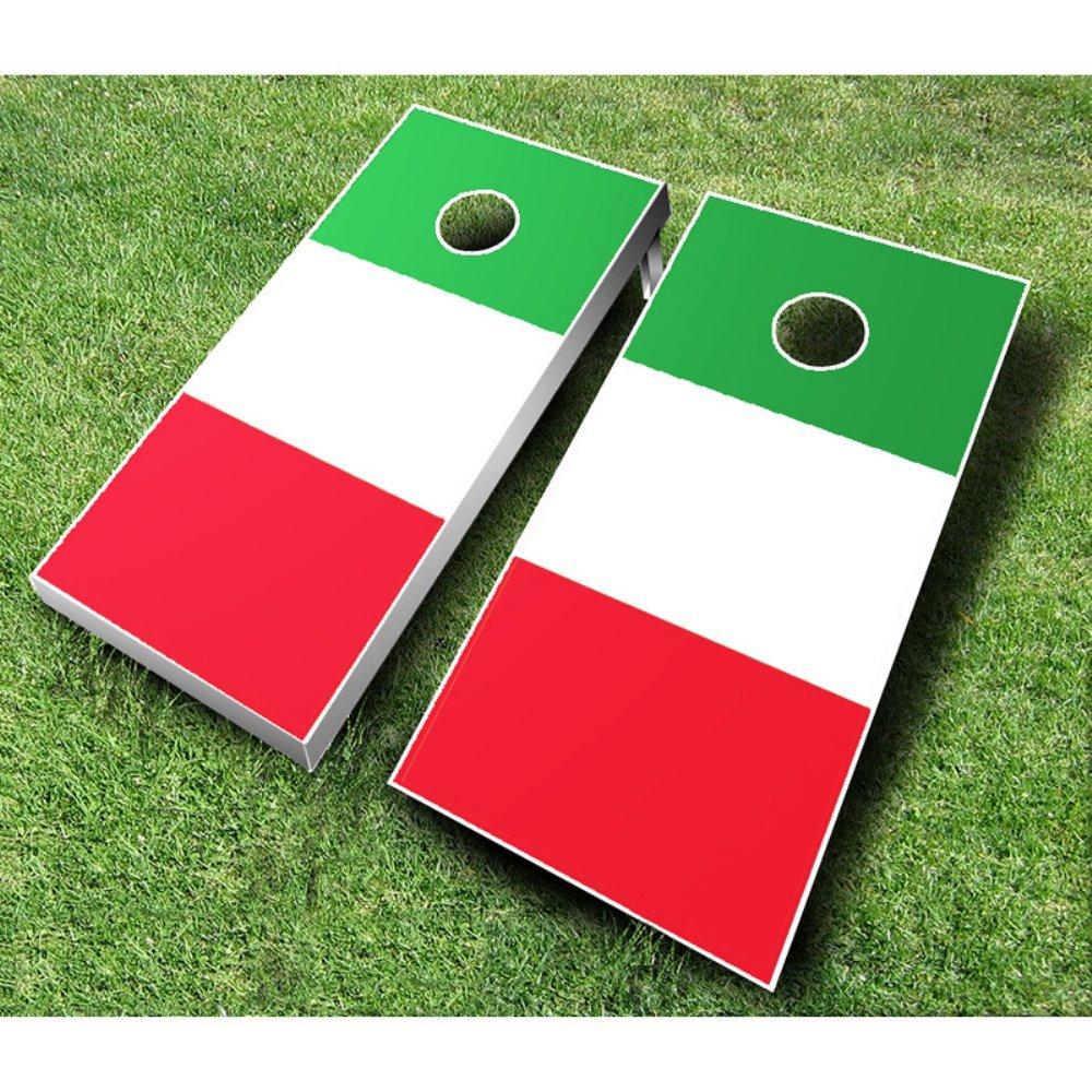 Italian Flag Cornhole Set with Bags by AJJ Cornhole