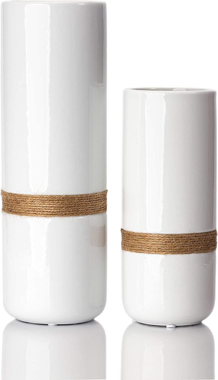 Jasius Ceramic White Vase Set - Elegant White Vases for Decor with Rustic Boho Rope Accent, Non-Scratch Base - Decorative Minimalist Vases for Flowers, Home, Office, Living Room, Kitchen - 2-Piece