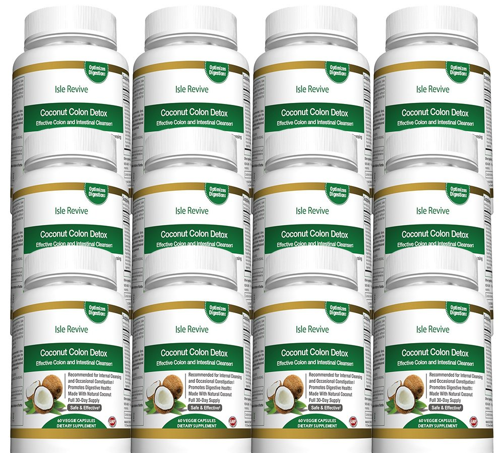 Coconut Colon Detox Cleanse for Weight Loss - with Aloe Psyllium Husk Flax Seed Licorice Root Ginger Best All Natural Healthy Digestive Laxative Constipation Cleanser - 12 Bottles 60 Capsules