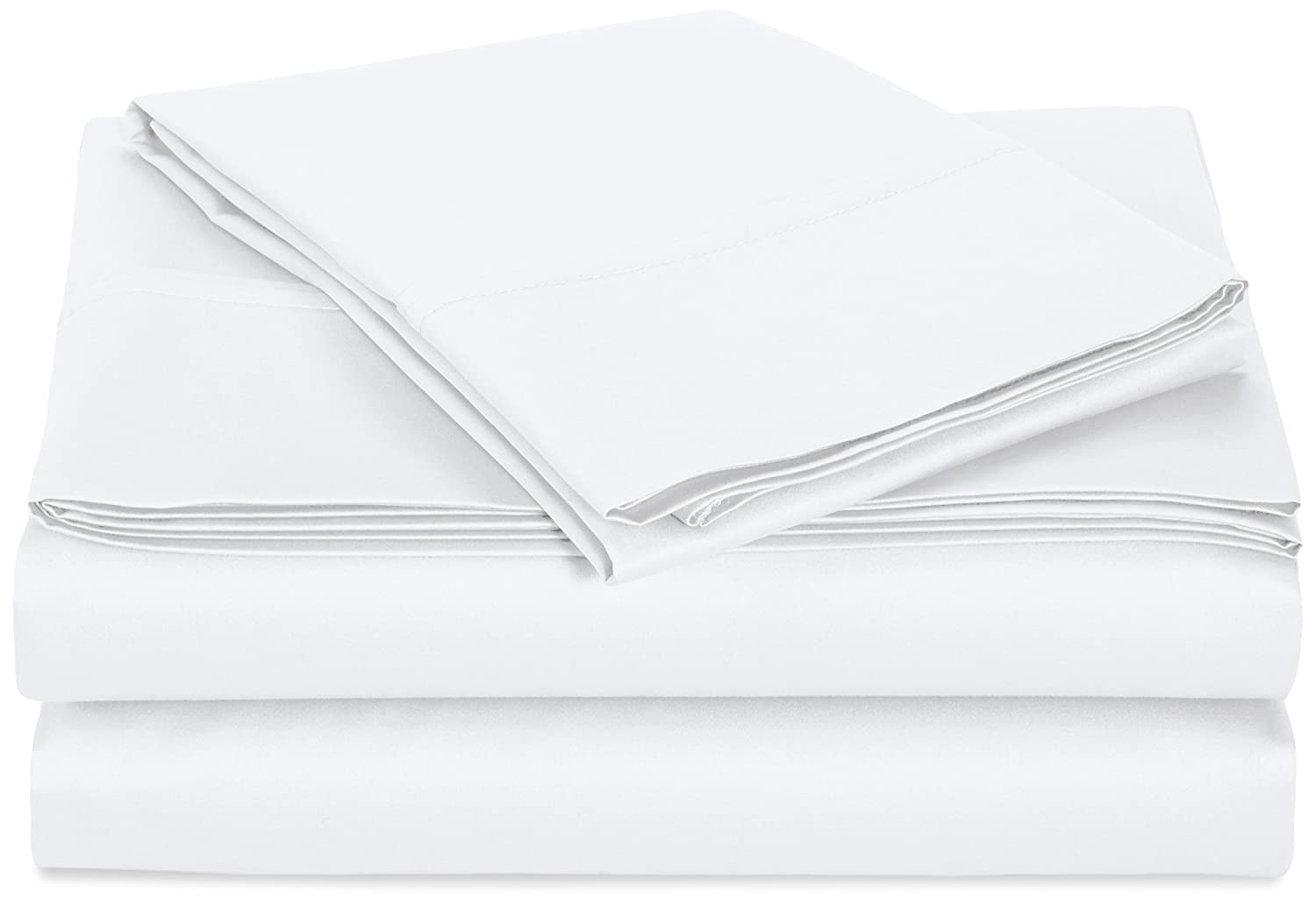 AmazonBasics 400 Thread Count Sheet Set, 100% Cotton, Sateen Finish - Twin, White