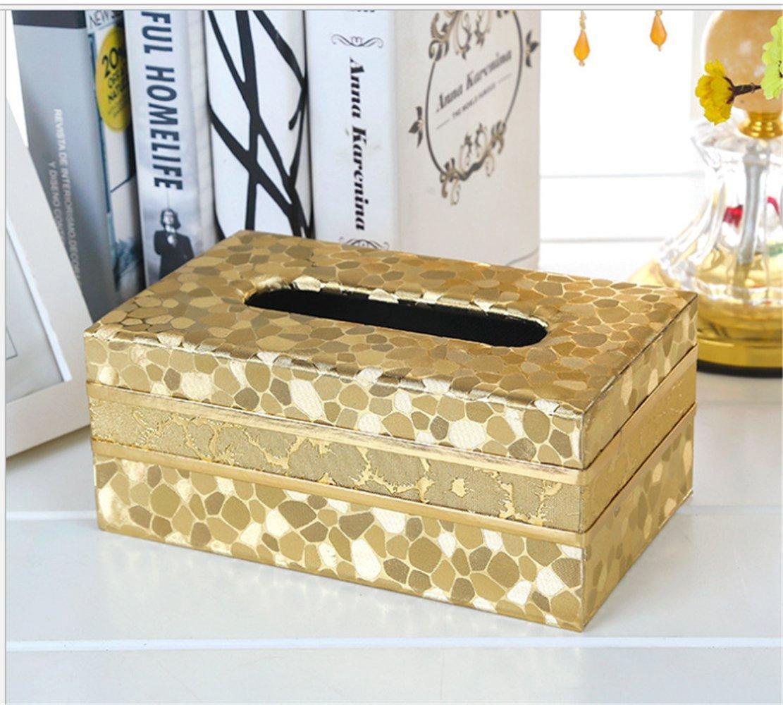 cuisine 20 x 12 x8.5 cm pour bureau en cuir Cuir Gold Stone Bo/îte pour mouchoirs et serviettes en papiers voiture Forme rectangulaire salle de bain