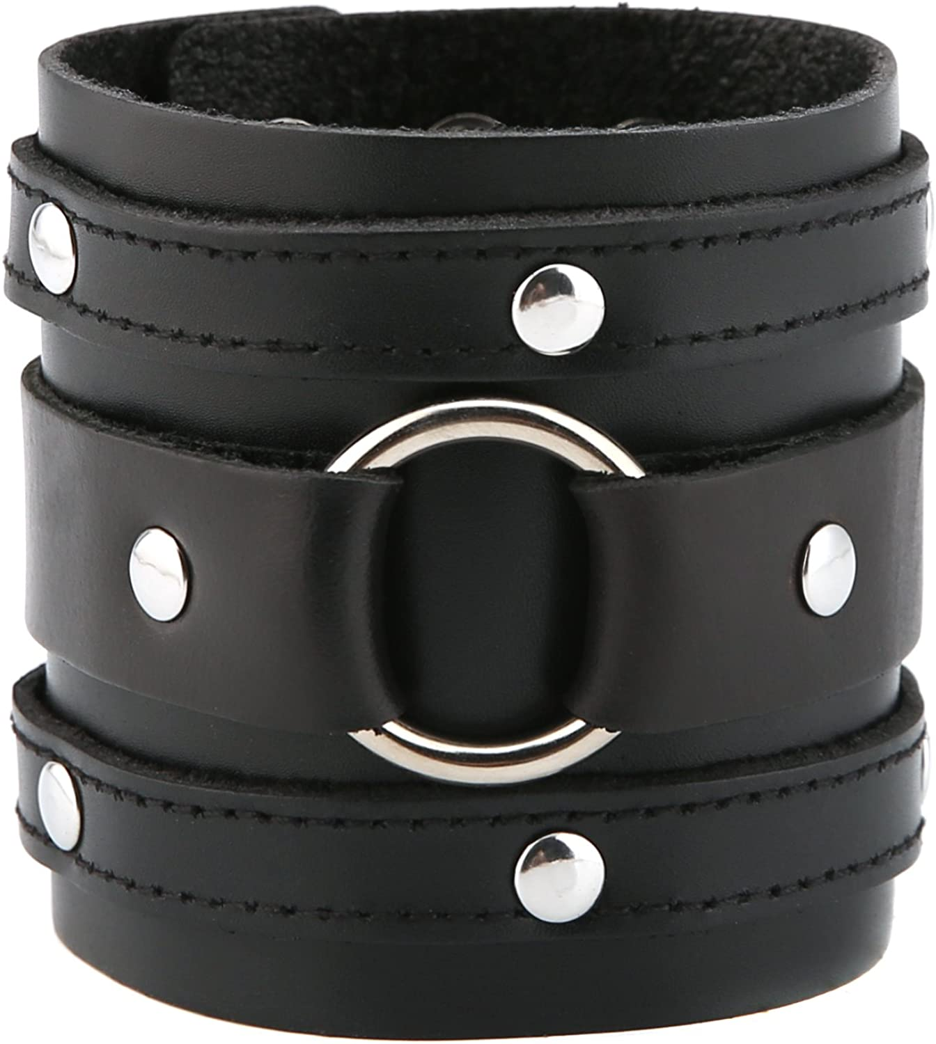 HZMAN Wide Cuff Wrap Gothic Wristband Punk Rock Biker Wide Strap Leather Bracelet