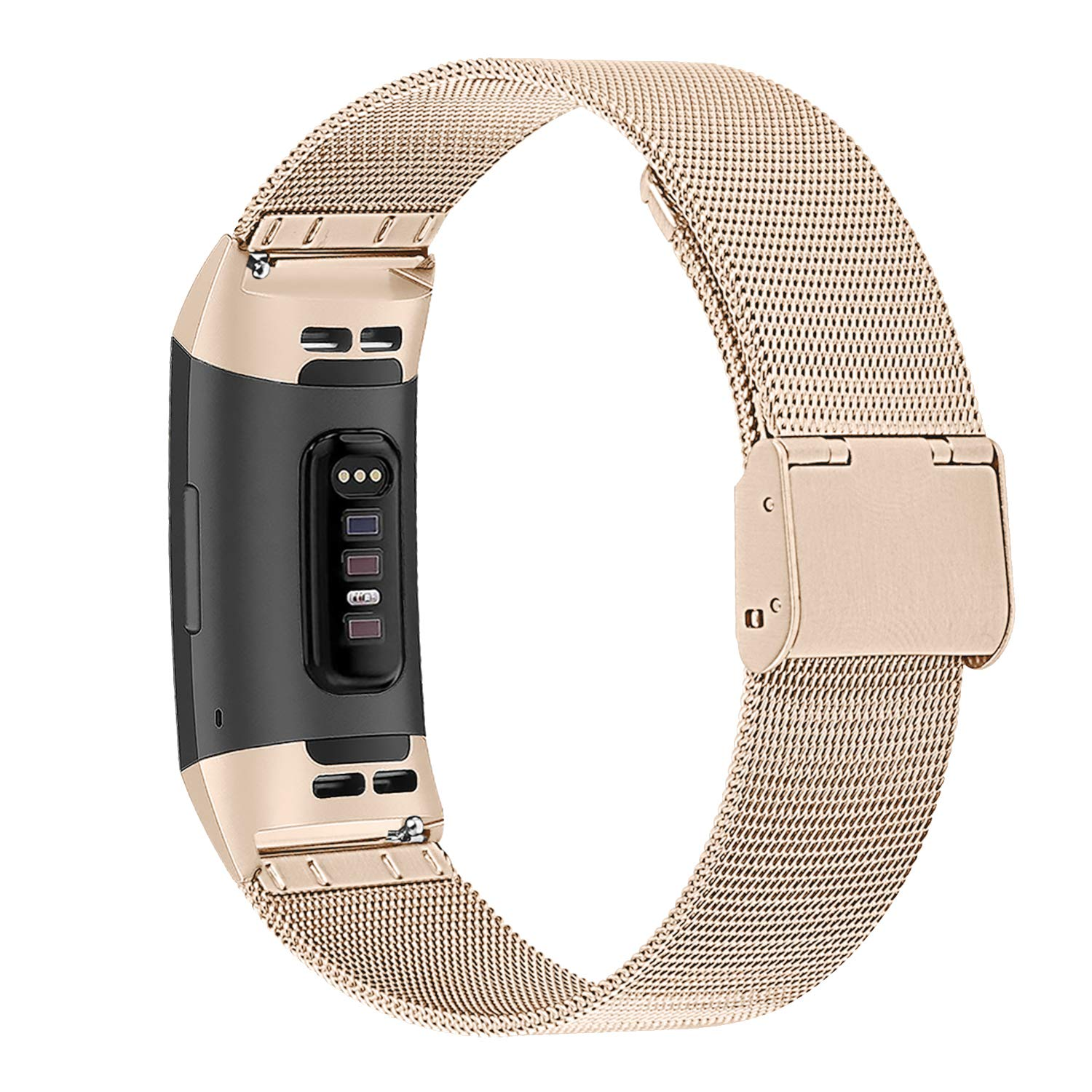 SYOSIN f/ür Fitbit Charge 3 Armband Edelstahl Armband mit Verstellbarer Schnalle Elegance Accessoires B/änder f/ür Fitbit Charge 3 Fitness Tracker