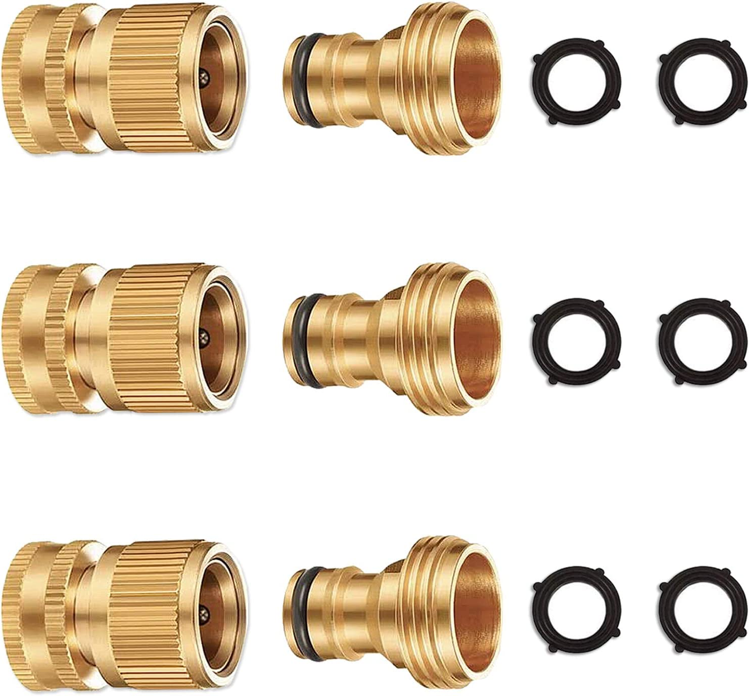 "YYinno Garden Hose Quick Connector,Hose Quick Connect Fittings Heavy Duty Brass Water Hose Connectors for Standard 3/4"" Watering Devices (3)"