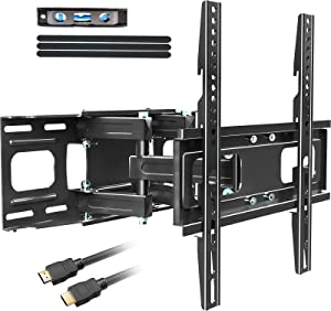 KDG Full Motion TV Wall Mount with Height Setting, TV Mount Bracket for Most 32-65 Inch LED LCD 4K Flat Screen Curved TV, Articulating Swivel Tilt Extension Max VESA 400x400mm Loading up to 121lbs