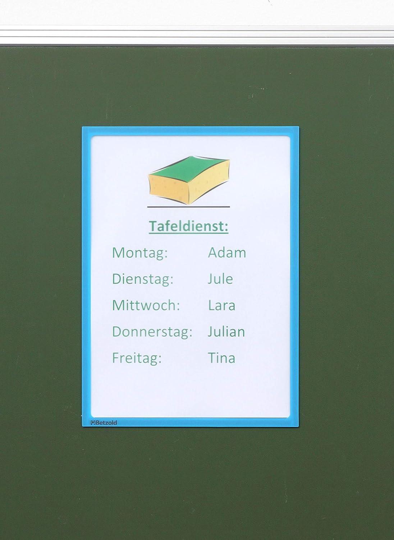 5er Set Betzold 73904 Magnettasche Einsteck-Tasche Infotasche magnetisch Sichttasche Dokumententasche gelb DIN A4 Infotaschen magnet-haftend