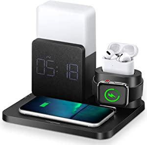 Wireless Charger, 3 in 1 Fast Wireless Charging Station with Digital Alarm Clock and Night Light,Compatible for iPhone 12, 11, 11 Pro, 11 Pro Max, AirPods, Galaxy S20 S10, Note 10 9