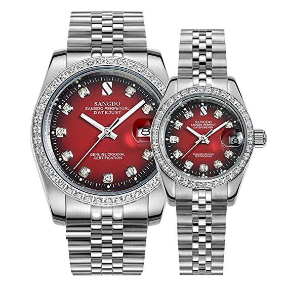 Amazon.com: Couple Watches Men and Women Automatic Mechanical Watch Romantic for Her or His Set of 2 (Blue): Watches