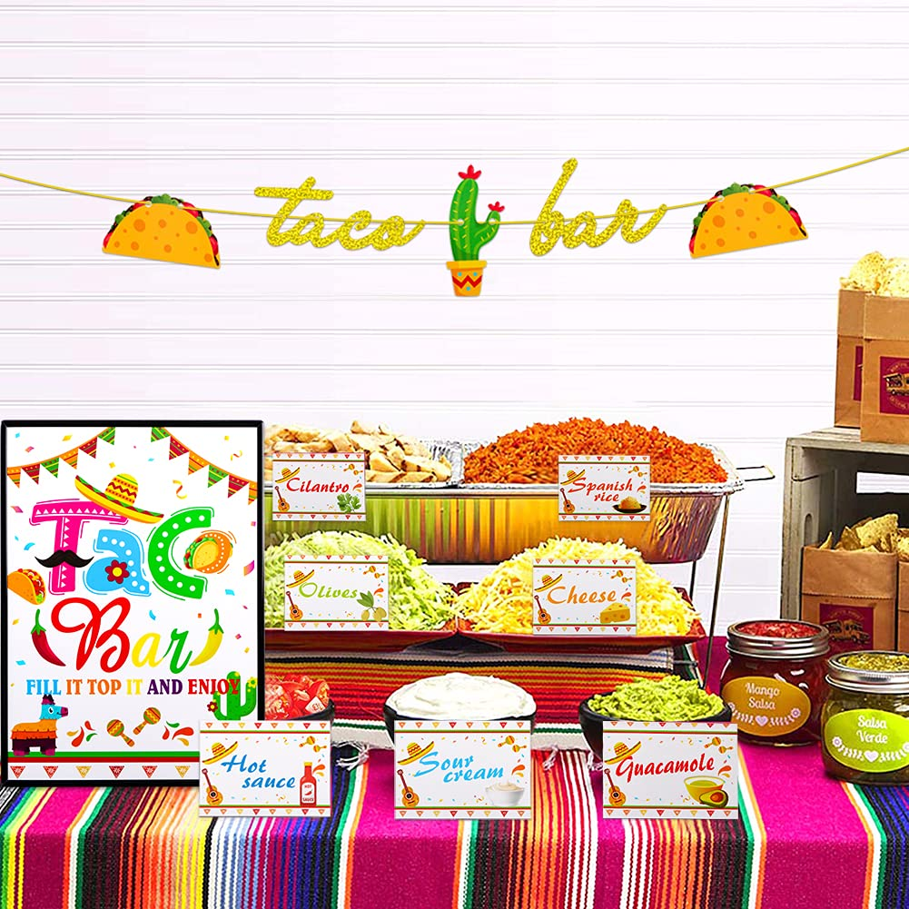 WHATSIGN Taco Bar Decoration Kit,Mexican Themed Party Decorations,Taco Bar Party Banner Table Sign Tents Garland for Fiesta Cinco De Mayo Party,Bachelorette Bridal Shower,Wedding Birthday Housewarming Decorations Taco Party Supplies
