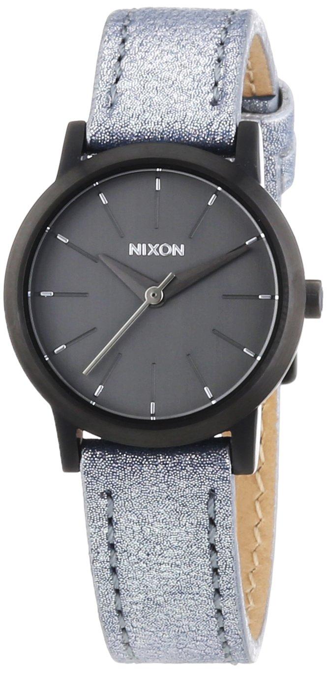 Nixon A398-1876 Ladies Kenzi Leather Gunmetal Blue Shimmer Watch
