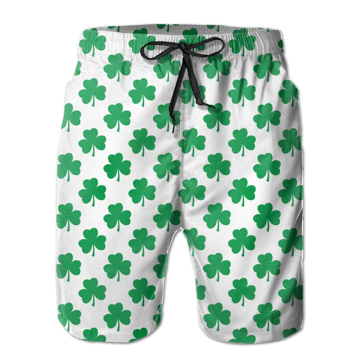 Mens Casual Swim Trunks St Patricks Day Decorations Clover Flower Green Beach Shorts with Elastic Waist