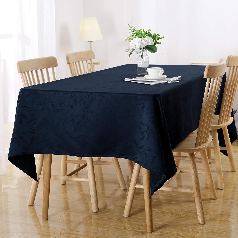 Deconovo Nappe Rectangulaire Imperm/éable Nappe Jacquard Motif Anniversaire Salon Table Basse de Jardin 137x200cm Bleu Marine