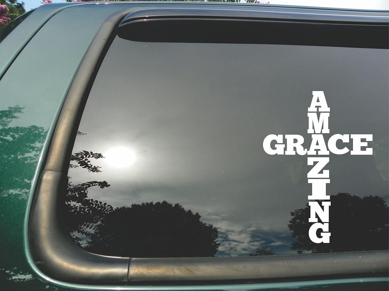 Amazoncom Amazing Grace Cross Die Cut Christian Vinyl Window - Vinyl window decals for trucks