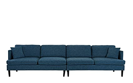 Amazon.com: Mid Century Extra Large Linen Fabric Sofa, Living Room ...