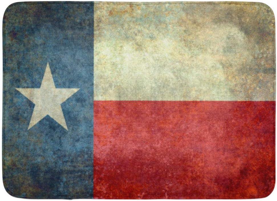 ECNM56B Alfombras de baño Alfombrilla para la Puerta Texan Azul La Bandera de la Estrella Solitaria del Gran Estado Texas Red Old Vintage USA 15.8