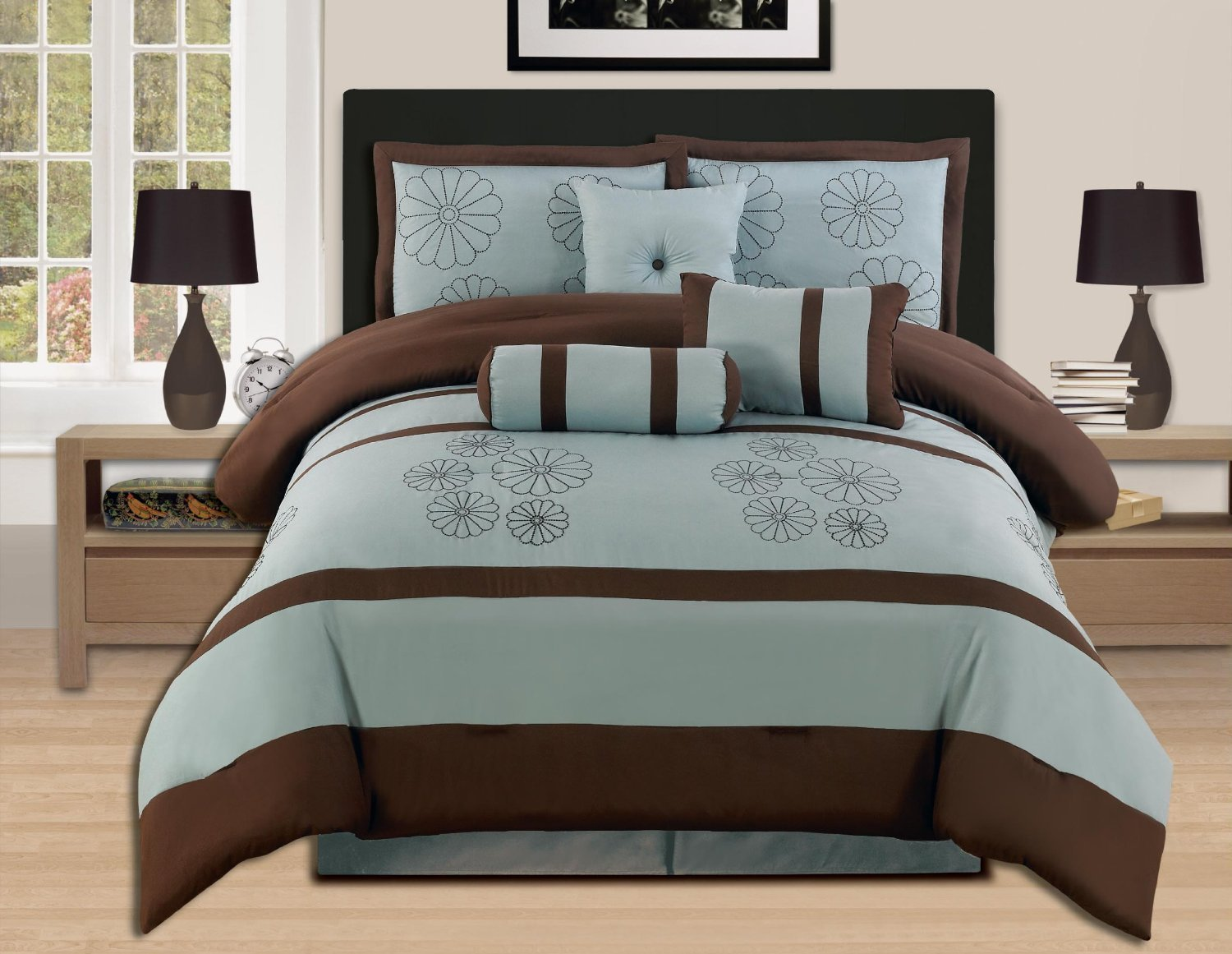 7 Pieces Luxury Embroidery Comforter Set Bed-in-a-bag (Oversize) Bedding (Aqua Blue/Brwon, Queen) Ahf COMINHKR088263