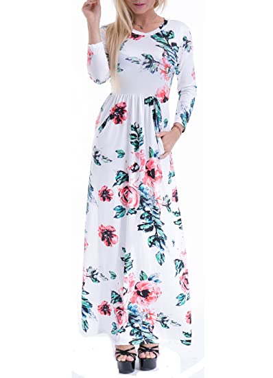 Women's Fashion Spring Floral Print Dress 3/4 Sleeve long Casual Maxi Dresses Zero Jorla (White XXL)
