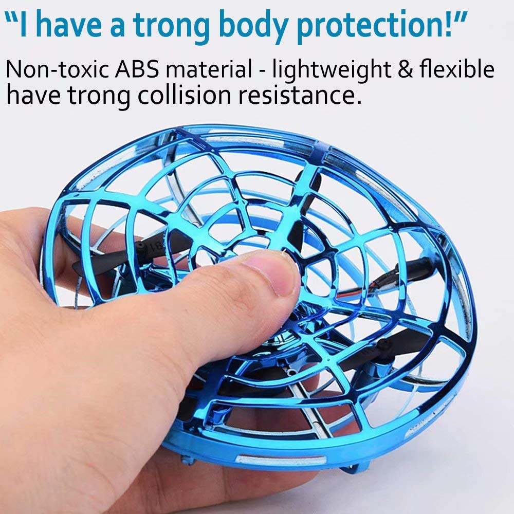 JTORD UFO Flying Toys for Kids Boys Hand-Controlled Flying Ball Interactive Infrared Induction Helicopter Ball 360° Rotating Shinning LED Lights Toys Gifts for Boys Girls Kids(Blue) by JTORD (Image #3)