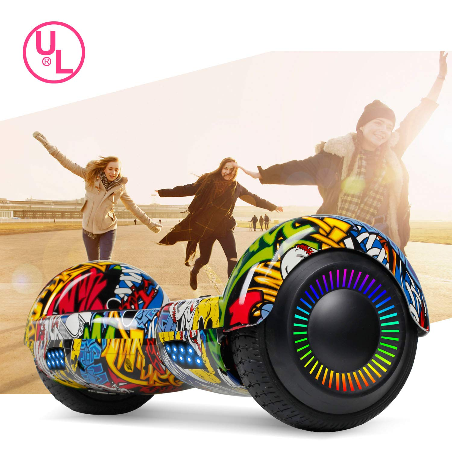 SISIGAD Hoverboard Self Balancing Scooter 6.5'' Two-Wheel Self Balancing Hoverboard with LED Lights Electric Scooter for Adult Kids Gift UL 2272 Certified Fun Edition - Graffiti by SISIGAD (Image #7)