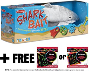 Shark Bait Game - Family Game + FREE Melissa & Doug Scratch Art Mini-Pad Bundle [94542]