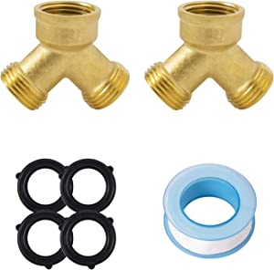SUNGATOR 3/4 Inch Lead Free Brass 2 Way Y Valve Garden Hose Connector 2-Pack Male Hose Thread Splitter Adapters with Extra 4 Rubber Hose Washers + 1 Sealing Tape