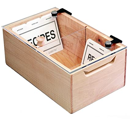 Deluxe Maple And Acrylic Recipe Box Holds More Than 1000 3x5 Or 4x6 Inch Cards Made In The Usa