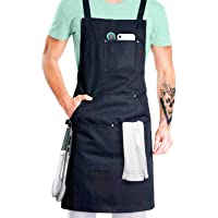 Professional Grade Chef Apron for Cooking, Kitchen, BBQ, and Grill (Black) with Towel Loop + Tool Pockets + Quick…
