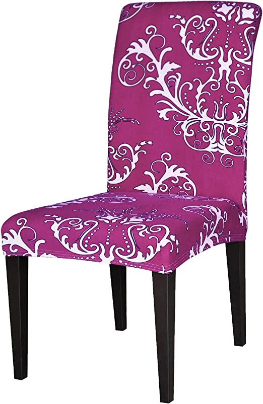 TIKAMI 1PCS Spandex Printed Fit Stretch Dinning Room Chair Slipcovers Yellow, 1