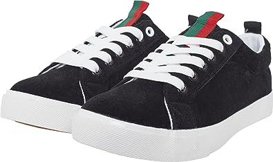 Urban Classics Unisex-Erwachsene Velour Sneaker, Mehrfarbig (Blk/Stripes), 39 EU