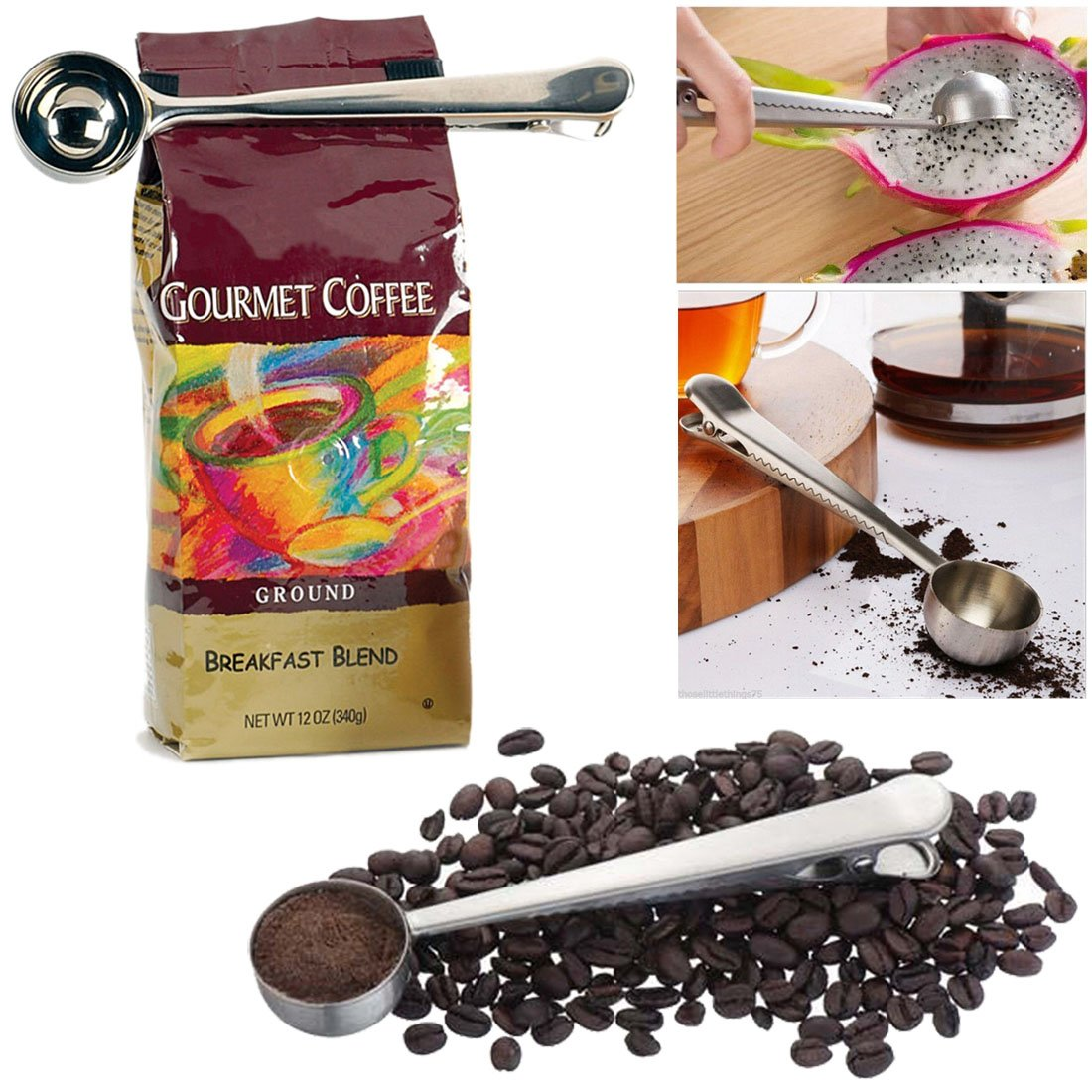 JJOnlineStore - 2 in 1 Stainless Steel 1 Cup Scoop Ground Coffee Measuring Spoon With Bag Sealing Clip Fruit Powder Spice Ice Cream (1 Pc)