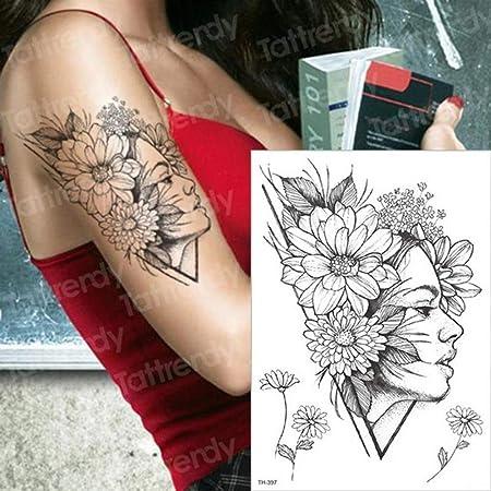 3Pcs-Black Rose Tattoo Tatuaje Impermeable Pegatina Flor de peonía ...
