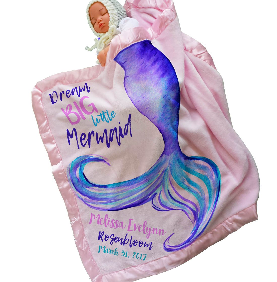 Personalized Mermaid Tail Baby Blanket (30x40, Pink) Satin Trim Baby Bedding - Special Gifts for New Baby Room Nursery Newborn