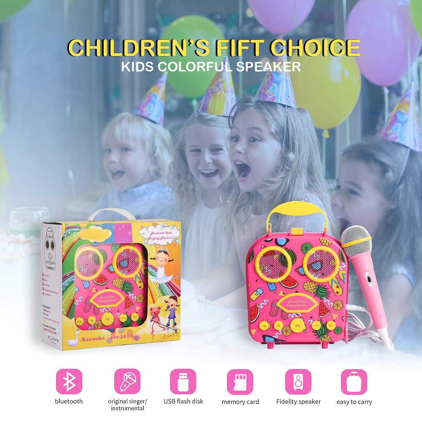Bluetooth Speaker Children's Karaoke Speaker Portable Microphone Beach Handbag Karaoke Bluetooth Speaker Wireless Cartoon Speaker for Kids for Indoor Outdoor Travel Activities with Microphone (Pink) by HowQ (Image #6)