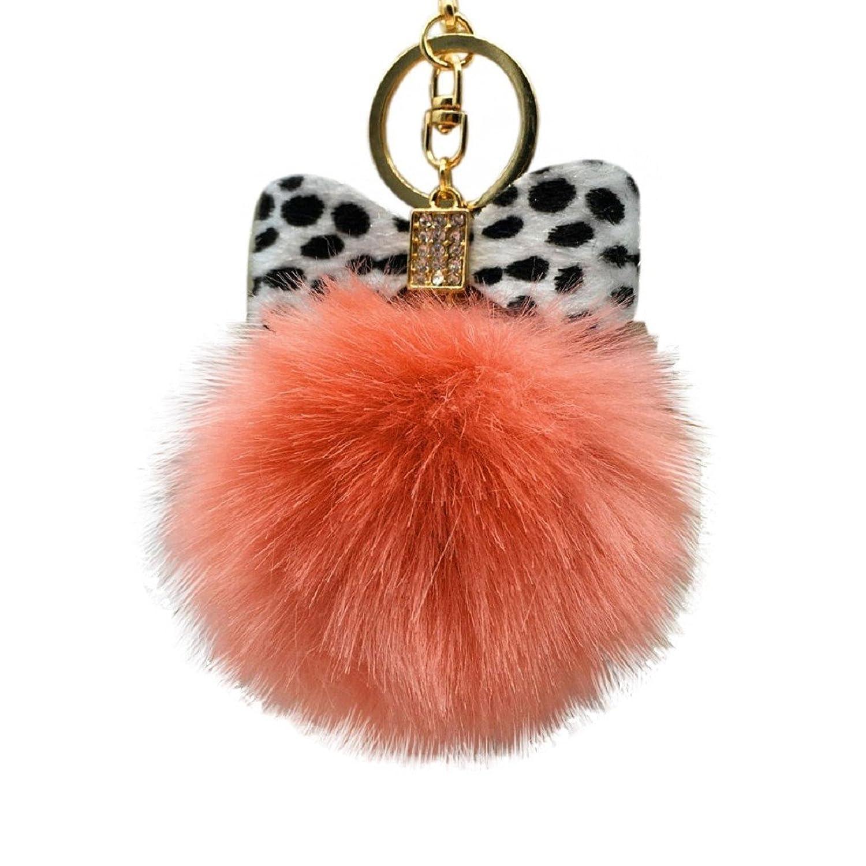 Egmy Leopard Bow Fluffy Faux Rabbit Fur Ball Bowknot Charm Car Keychain Handbag Key Ring (Orange)