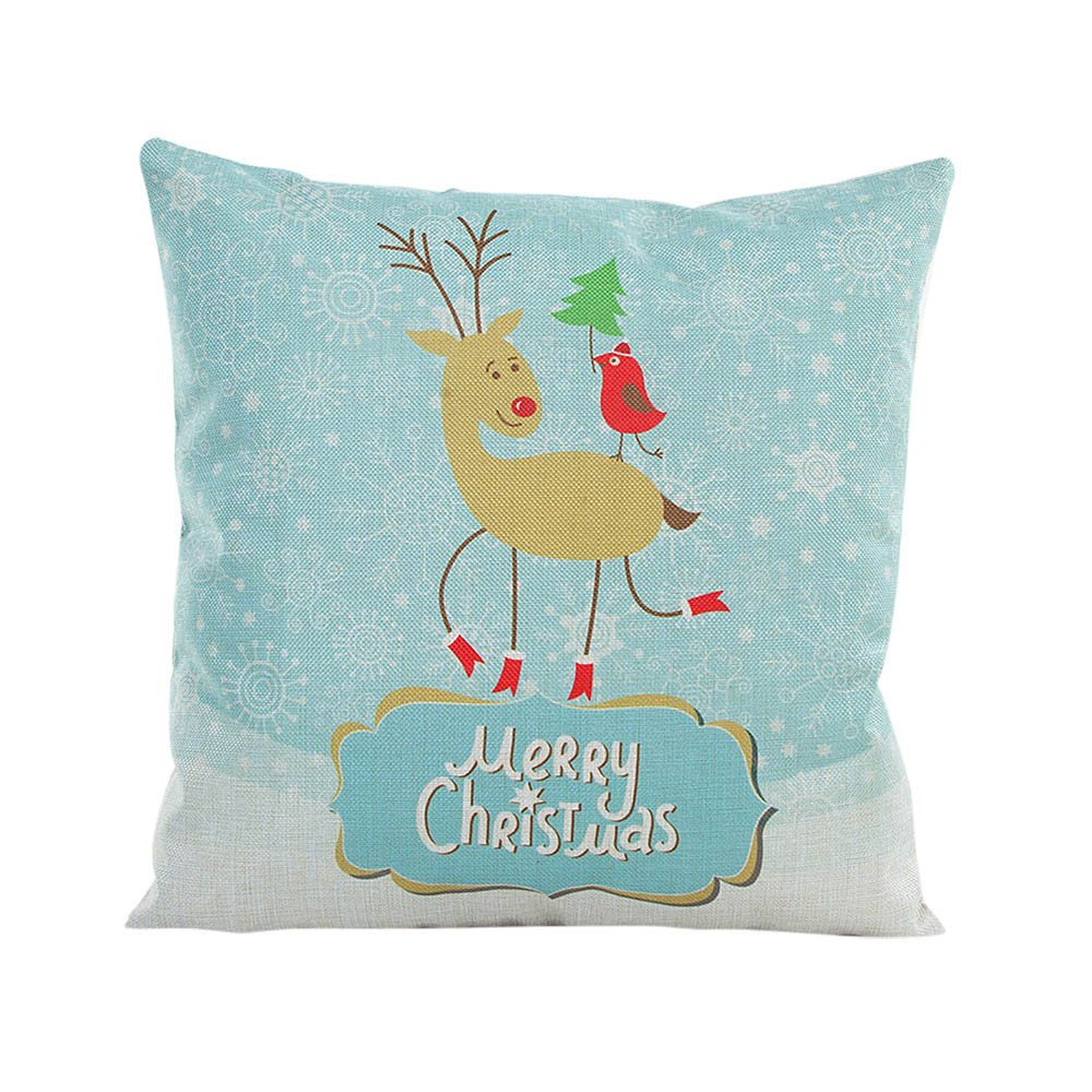Merry Christmas Flax Pillowcase Pgojuni Fresh Style Throw Pillow Cover Cushion Cover Pillow Case for Sofa/Couch Decoration 1pc 43cmX43cm (D)