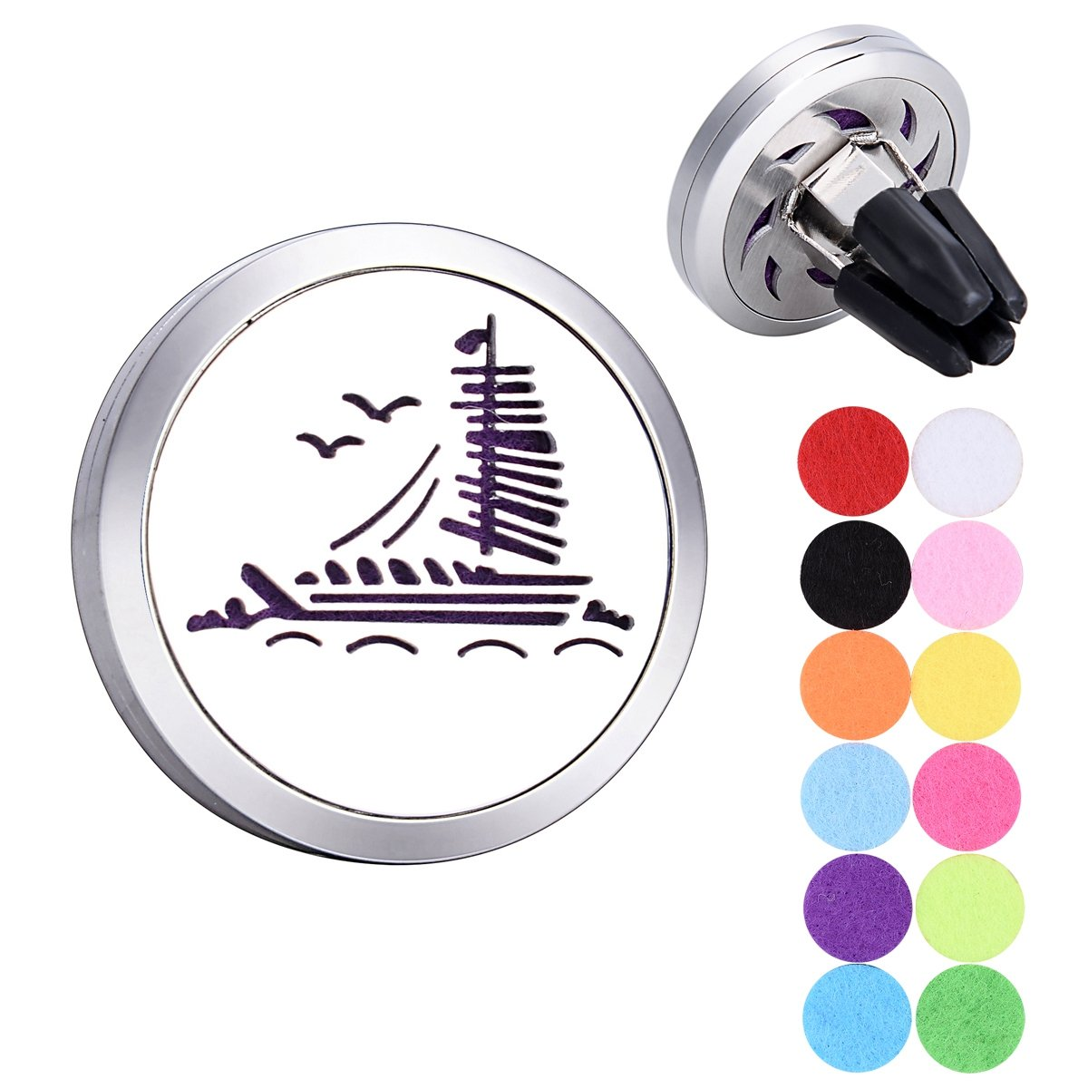 Sailing Boat Aromatherapy Essential Oils Car Diffuser Stainless Steel Locket Supreme glory