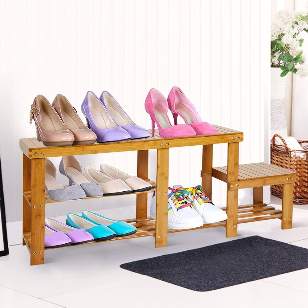 Dporticus Natural Bamboo Shoe Bench 2-Tier Boot Storage Racks Shelf Footwear Organizer Seat for Entryway Hallway Living Room