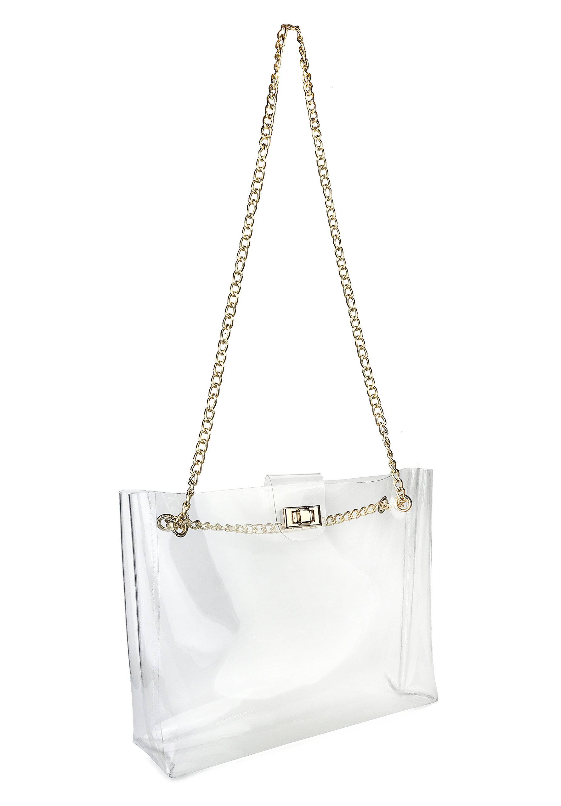 Multifunction Clear Chain Tote with Turn Lock Womens Shoulder Handbag (Clear) by Hoxis (Image #5)
