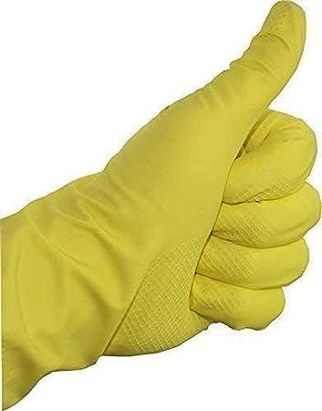 10 Paar Clean-Comfort Latex Mehrweg-Haushalts-Handschuhe Schutzhandschuhe gelb