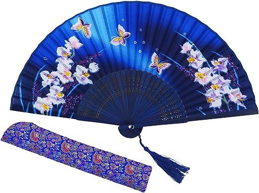 AM-03 Amajiji 8.27 Women Folding Fan Hand Fan,Chinease//Japanese Vintage Retro Style for Women Ladys Girls