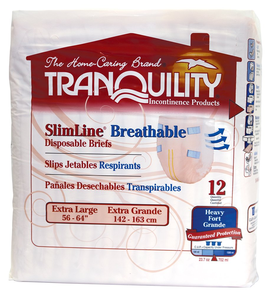Amazon.com: Tranquility SlimLine Breathable Adult Disposable Brief - XL - 12 ct: Health & Personal Care