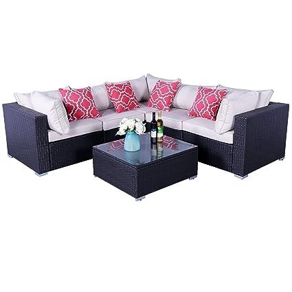 Amazon.com: HTTH Juego de muebles de ratán para patio, sofá ...