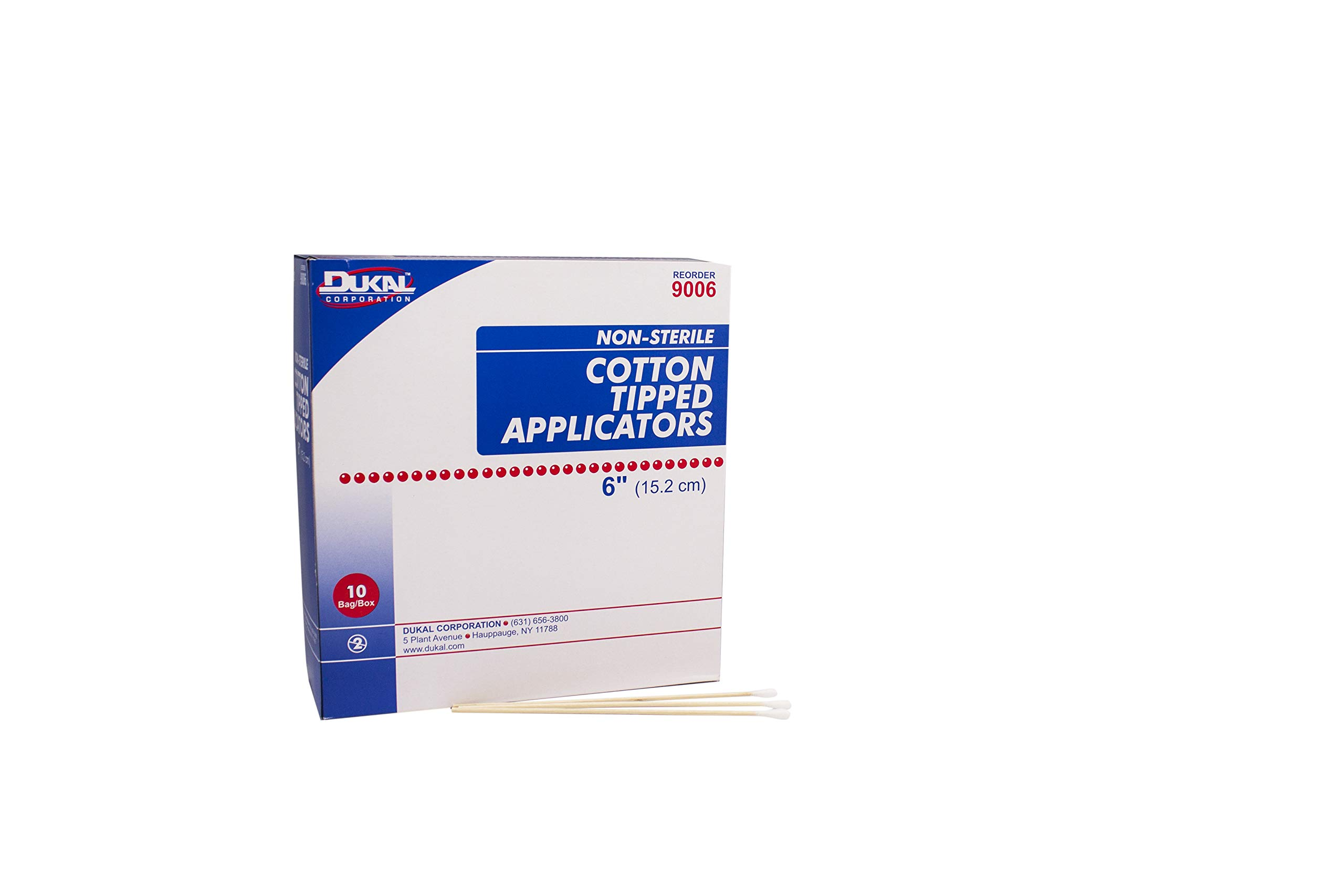 Dukal 9006 Cotton Tipped Applicator, Non-Sterile, 6'' (10 Bags of 100) (Pack of 1000)