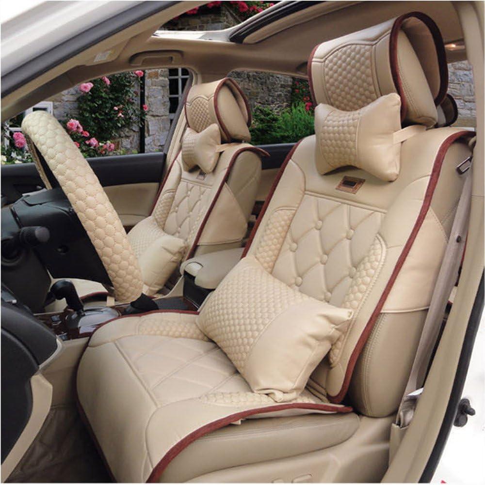 3er Set Saferide Autositzbez/üge PKW universal Auto Sitzbez/üge Kunstleder Beige mit Airbag f/ür Vordersitze und R/ückbank 1+1 Autositze vorne und 1 Sitzbank hinten teilbar 2 Rei/ßverschl/üsse