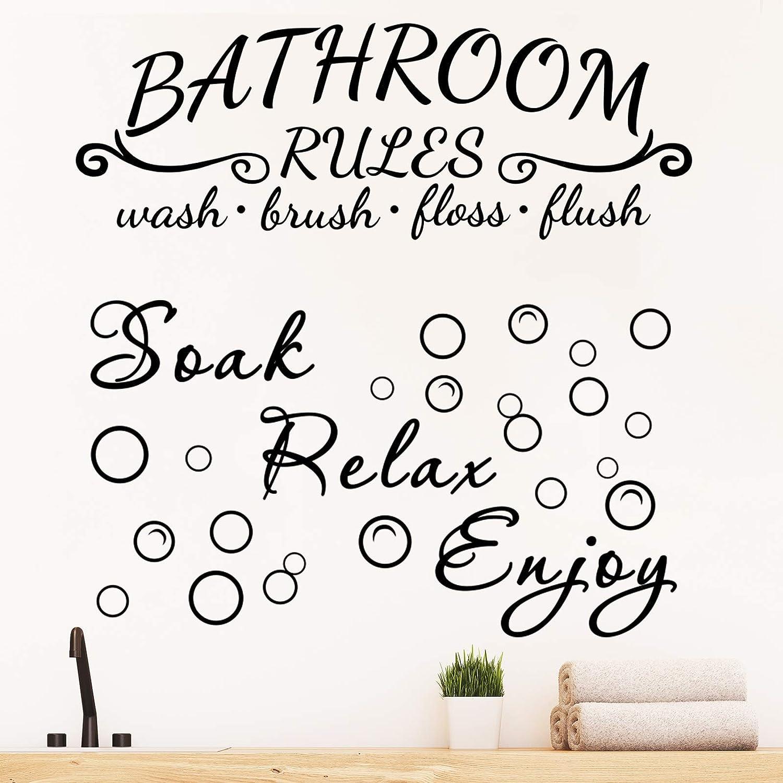 2 Pieces Bathroom Wall Decals Sticker Soak Relax Enjoy Bathroom Rules Wall Sticker Vinyl Quote Saying Wall Art Decor for Home Bathroom (Black)