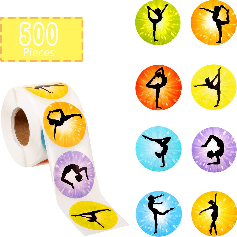 Outus 500 Pieces Gymnastics Roll Stickers Gymnastics Art Girl Stickers Round Decorative Seal Stickers Gymnast Party Favors for Gymnastics Party Birthday Party Classroom Reward